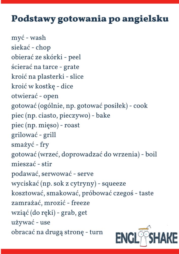 gotowanie po angielsku
