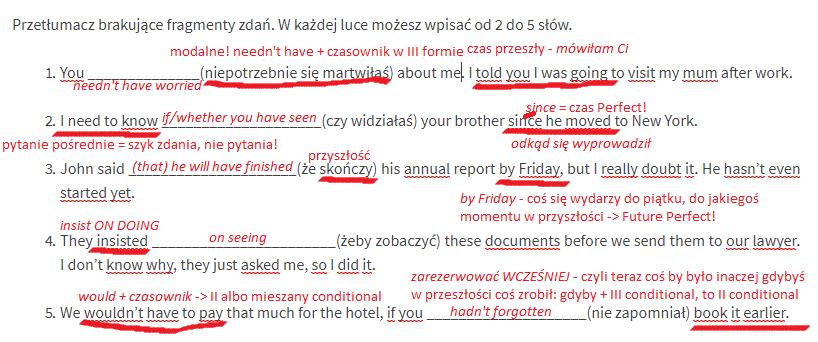 tłumaczenie fragmentów zdań